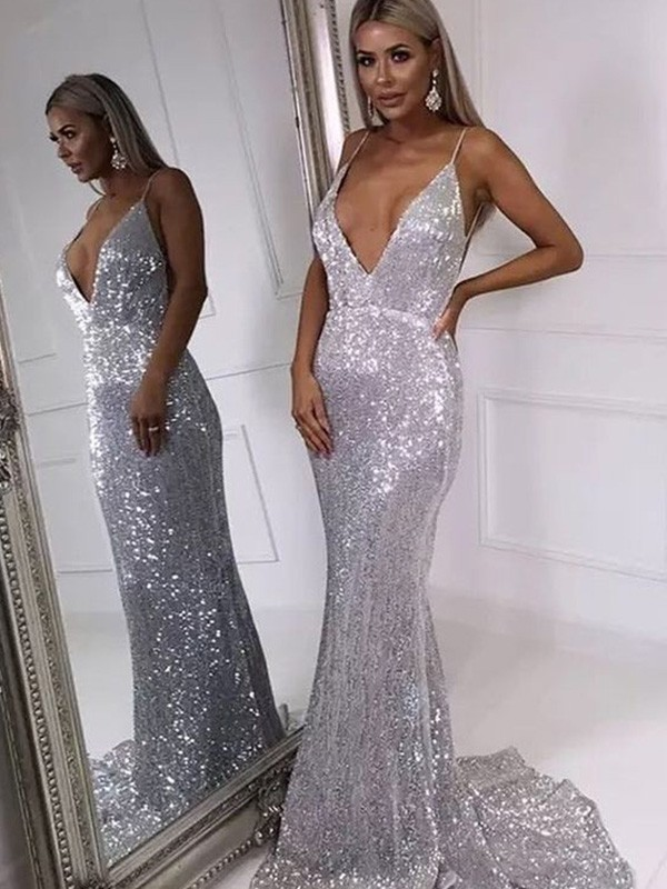 Absolute Lovely Trumpet/Mermaid Ruffles V-neck Sweep/Brush Train Sleeveless Sequins Prom Dresses