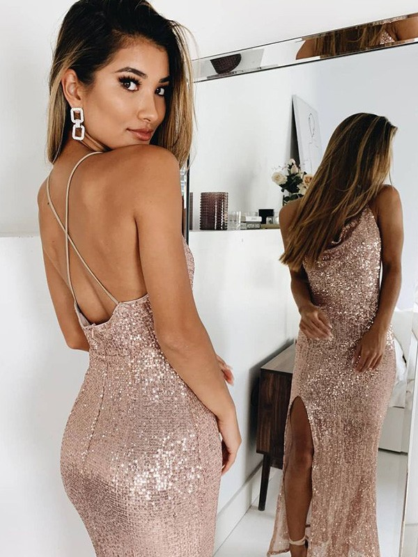 Dancing Queen Trumpet/Mermaid Ruched Spaghetti Straps Sleeveless Sequins Ankle-Length Prom Dresses