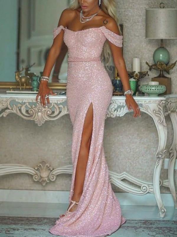 Dancing Queen Trumpet/Mermaid Off-the-Shoulder Sequins Sleeveless Sash/Ribbon/Belt Sweep/Brush Train Prom Dresses