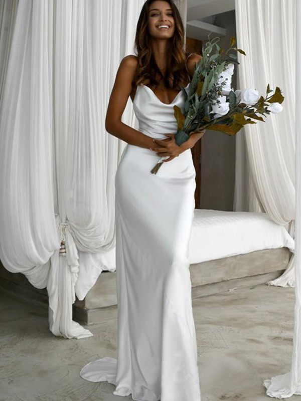 Memorable Magic Sheath/Column Silk like Satin Ruched Spaghetti Straps Sweep/Brush Train Sleeveless Wedding Dresses