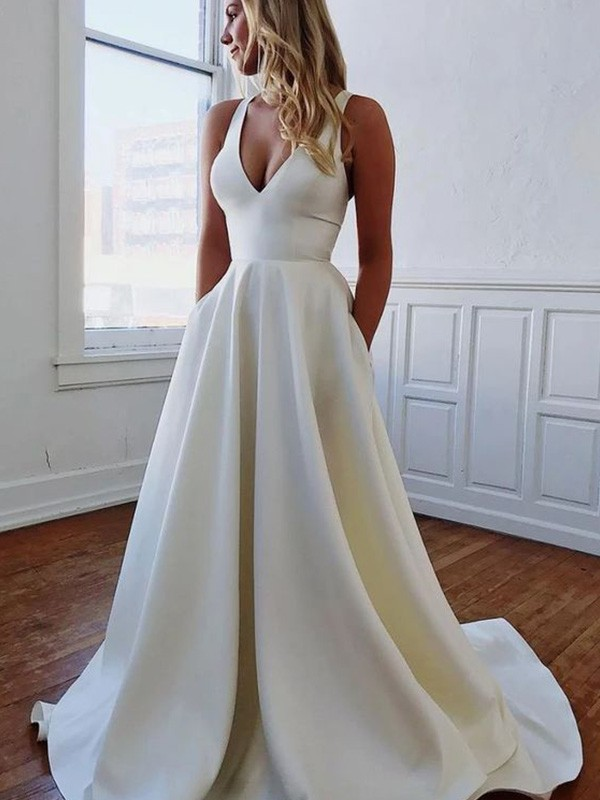 Memorable Magic A-Line/Princess V-neck Stretch Crepe Ruffles Sleeveless Sweep/Brush Train Wedding Dresses