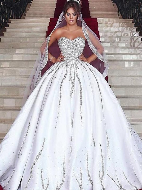 Memorable Magic Ball Gown Sweetheart Satin Beading Sleeveless Sweep/Brush Train Wedding Dresses