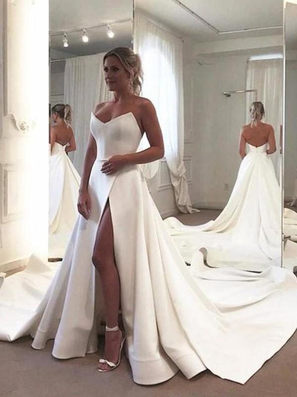 Beautiful You A-Line/Princess Sleeveless Ruffles Sweetheart Satin Court Train Wedding Dresses