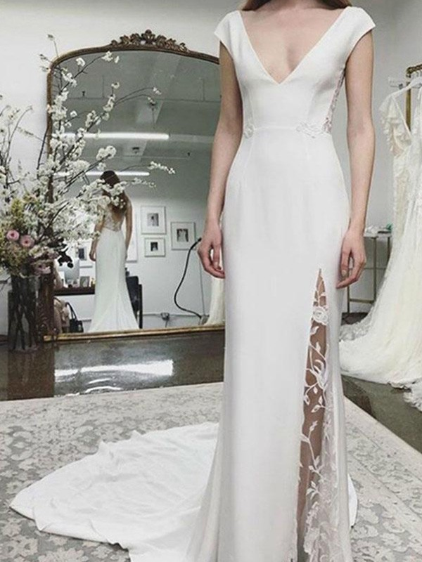 Beautiful You Sheath/Column Stretch Crepe Lace V-neck Sleeveless Court Train Wedding Dresses