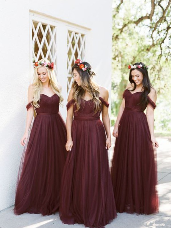 A-Line/Princess Tulle Ruffles Off-the-Shoulder Sleeveless Floor-Length Bridesmaid Dresses
