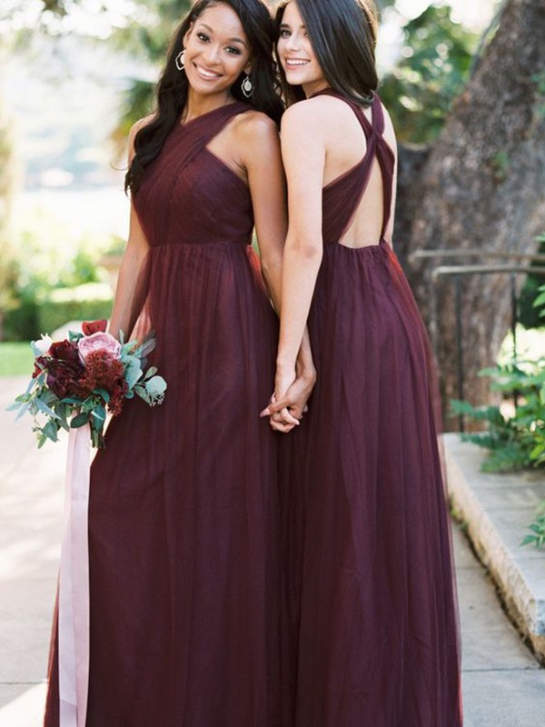 A-Line/Princess Floor-Length Halter Tulle Sleeveless Ruffles Bridesmaid Dresses