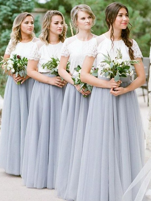 A-Line/Princess Tulle Scoop Short Sleeves Ruffles Floor-Length Bridesmaid Dresses
