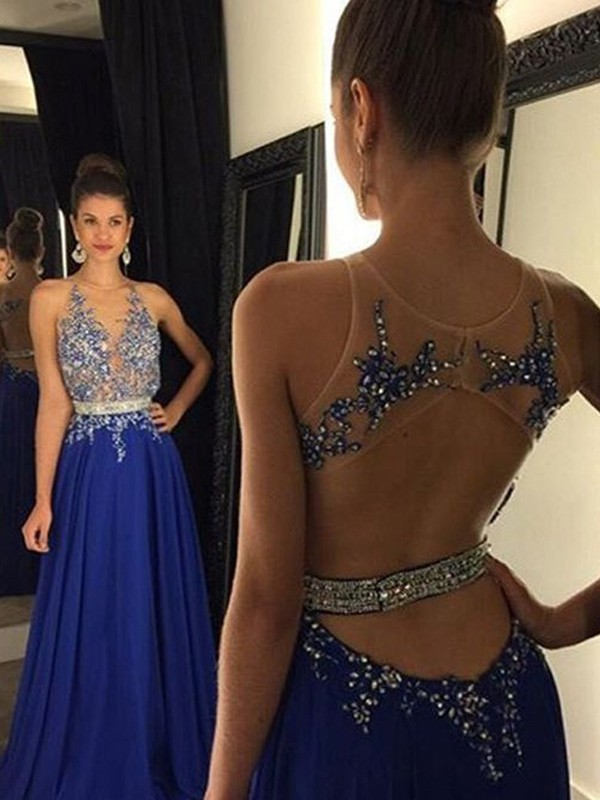 Beautiful You Princess Style V-neck Chiffon Applique Floor-Length Dresses