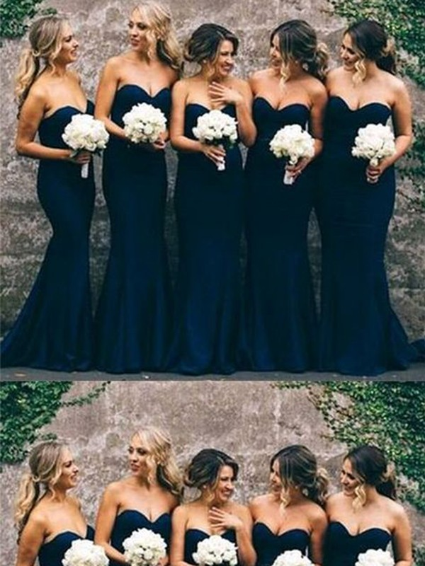 Trumpet/Mermaid Ruffles Sweetheart Satin Sweep/Brush Train Sleeveless Bridesmaid Dresses
