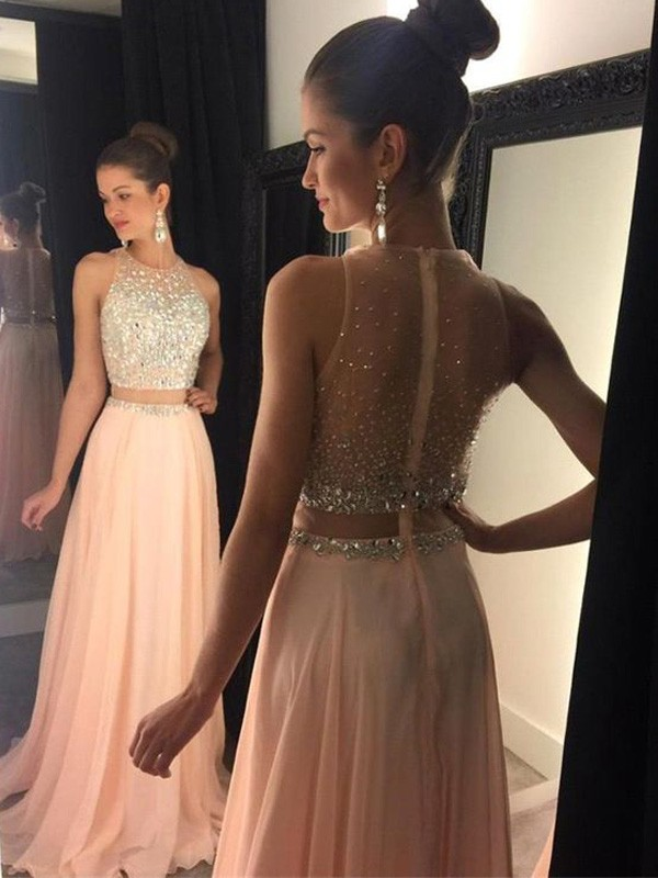 Touch of Texture Princess Style Scoop Beading Sweep/Brush Train Chiffon Dresses