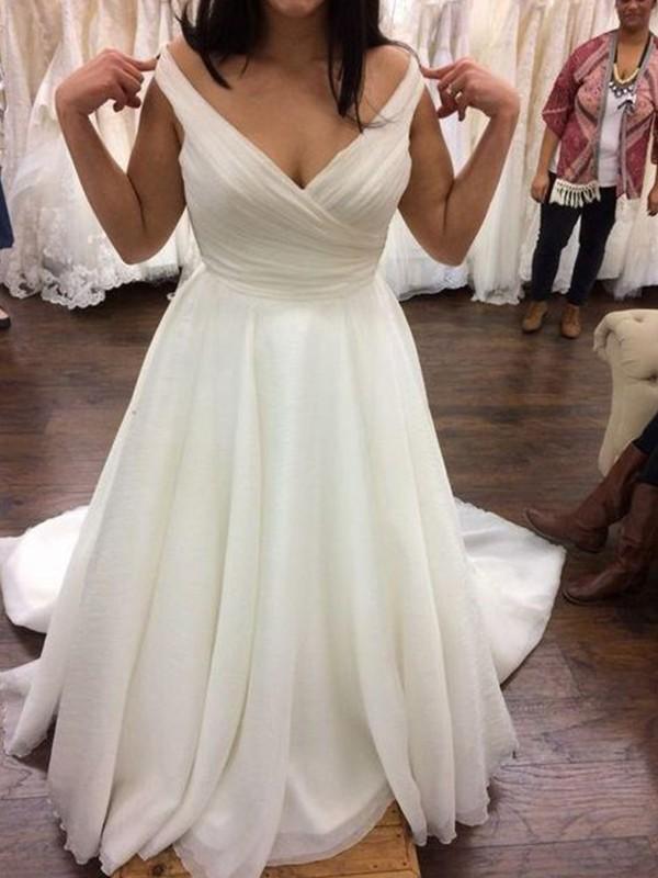 A-Line/Princess V-neck Chiffon Ruffles Sweep/Brush Train Sleeveless Plus Size Wedding Dresses