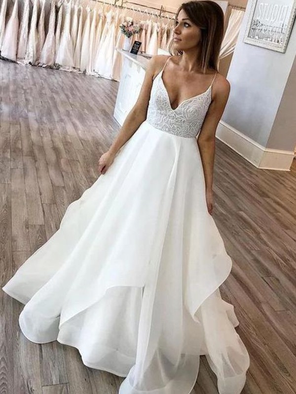 A-Line/Princess Spaghetti Straps Chiffon Ruffles Sweep/Brush Train Sleeveless Wedding Dresses