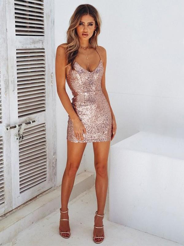 Sheath/Column Sequins Spaghetti Straps Sleeveless Short/Mini Dresses