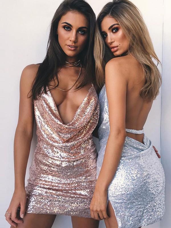 Sheath/Column Ruched Halter Sequins Sleeveless Short/Mini Homecoming Dresses