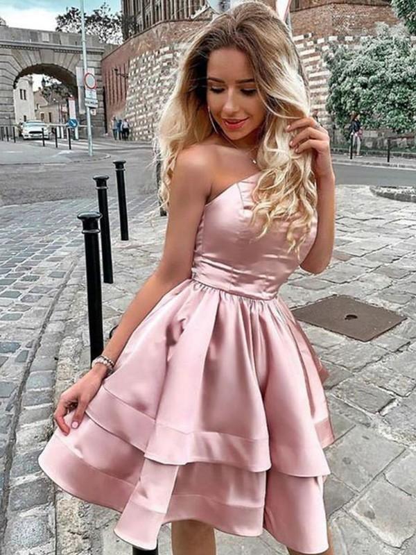 A-Line/Princess One-Shoulder Charmeuse Ruffles Sleeveless Short/Mini Homecoming Dresses