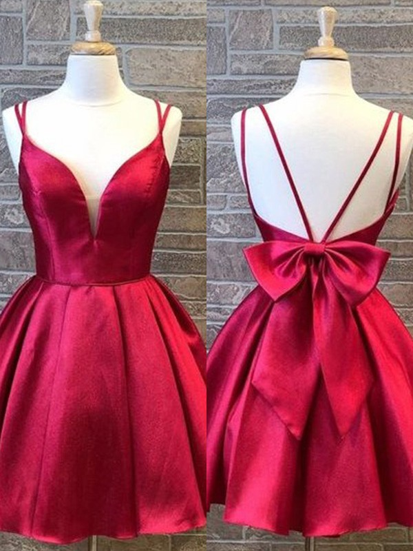 A-Line/Princess Satin Spaghetti Straps Sleeveless Bowknot Short/Mini Homecoming Dresses