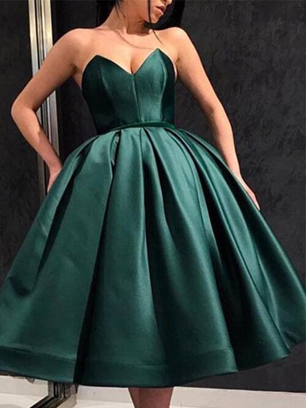 A-Line/Princess Sweetheart Ruffles Satin Tea-Length Short/Mini Homecoming Dresses