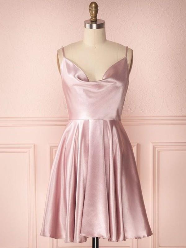 A-Line/Princess Silk like Satin Ruffles Sleeveless Spaghetti Straps Short/Mini Homecoming Dresses