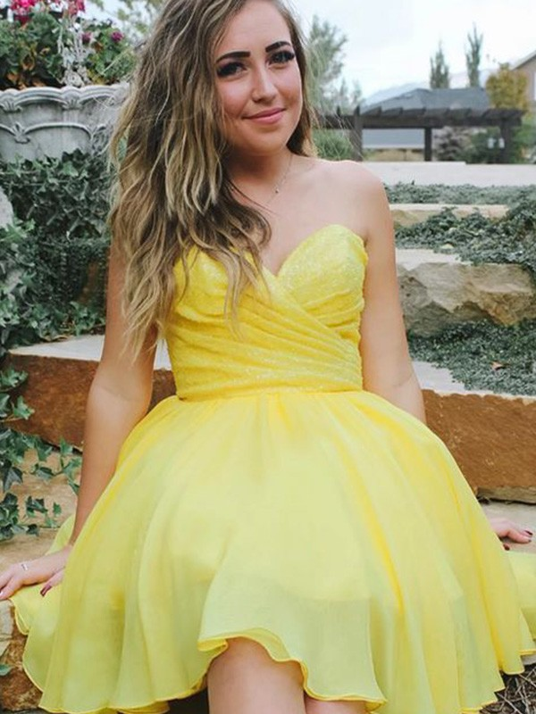 A-Line/Princess Sweetheart Sleeveless Chiffon Ruched Short/Mini Dresses