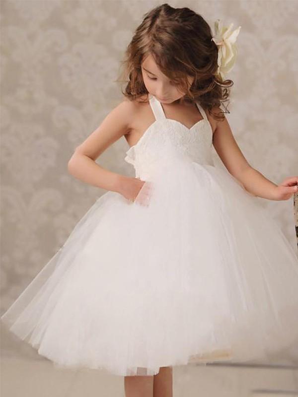 Ball Gown Tulle Applique Halter Sleeveless Knee-Length Flower Girl Dresses