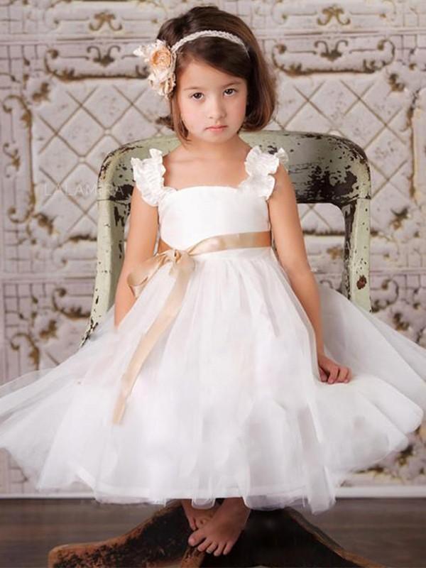 A-Line/Princess Sash/Ribbon/Belt Straps Sleeveless Tulle Ankle-Length Flower Girl Dresses