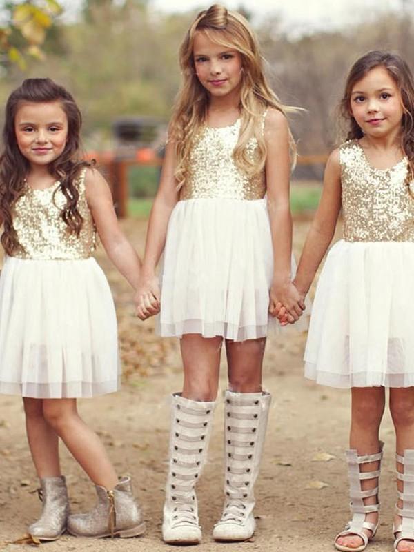 A-Line/Princess Scoop Tulle Ruffles Sleeveless Short/Mini Flower Girl Dresses