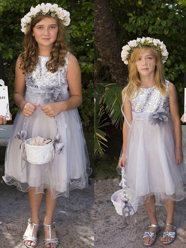 A-Line/Princess Hand-Made Flower Tulle Scoop Sleeveless Tea-Length Flower Girl Dresses