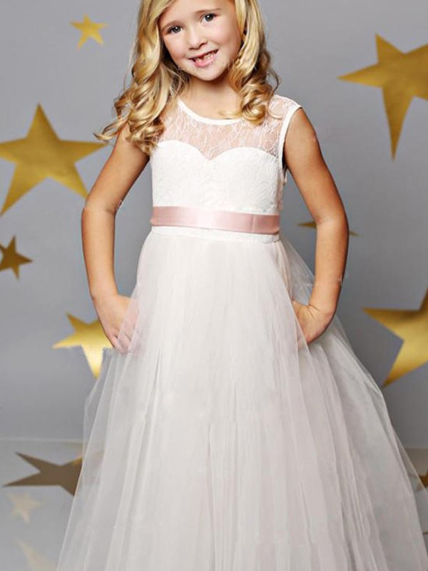 A-Line/Princess Tulle Scoop Sleeveless Sash/Ribbon/Belt Floor-Length Flower Girl Dresses