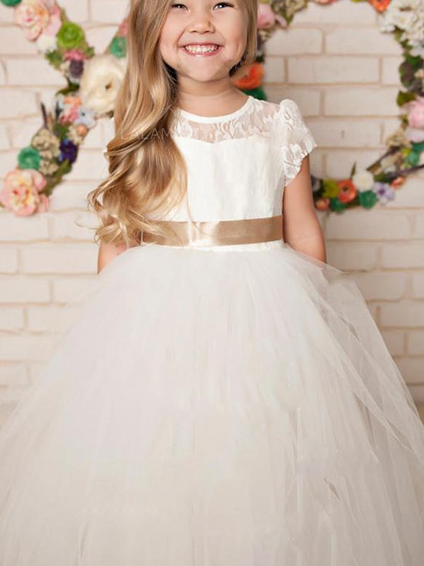 A-Line/Princess Tulle Lace Scoop Short Sleeves Floor-Length Flower Girl Dresses