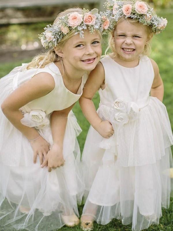 A-Line/Princess Tulle Hand-Made Flower Scoop Sleeveless Floor-Length Flower Girl Dresses
