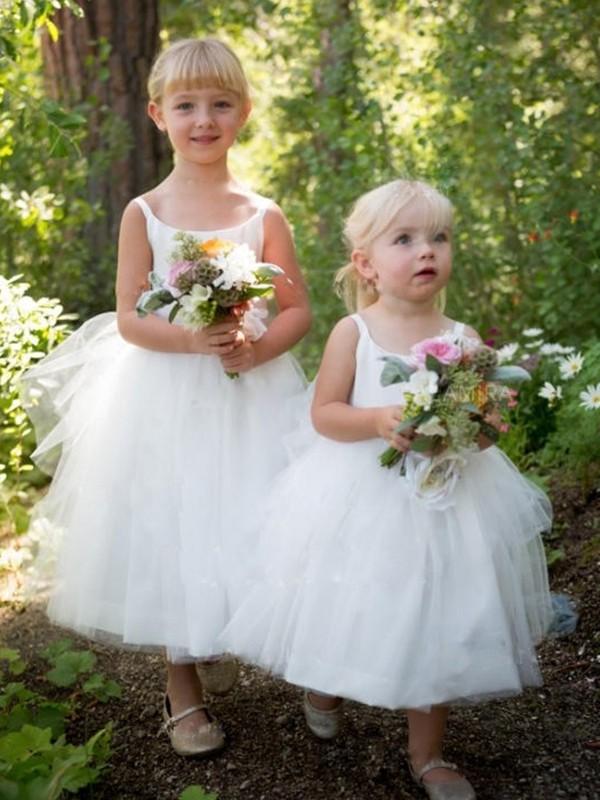 A-Line/Princess Bateau Tulle Ruffles Sleeveless Tea-Length Flower Girl Dresses