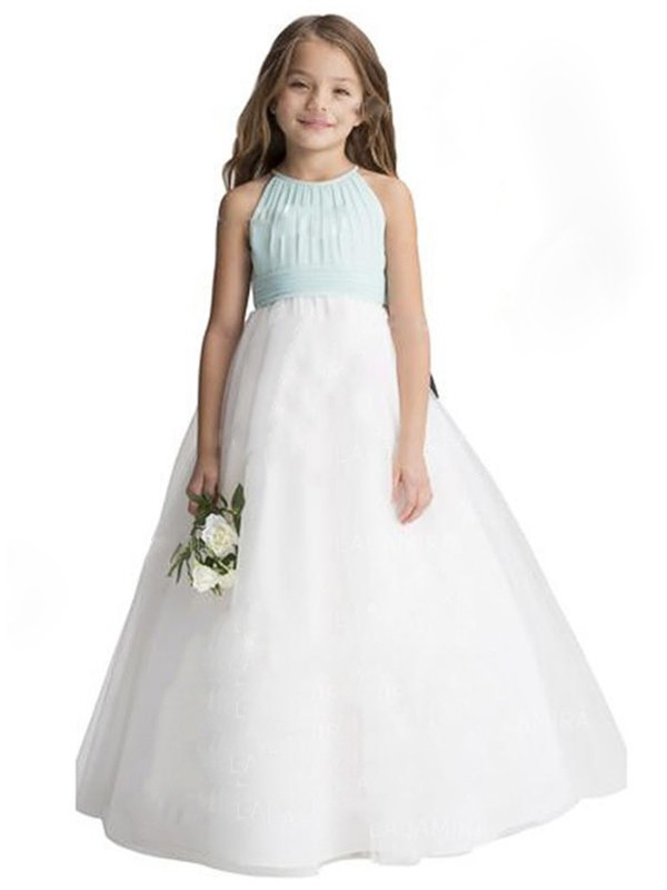 A-Line/Princess Sleeveless Scoop Ruffles Tulle Floor-Length Flower Girl Dresses