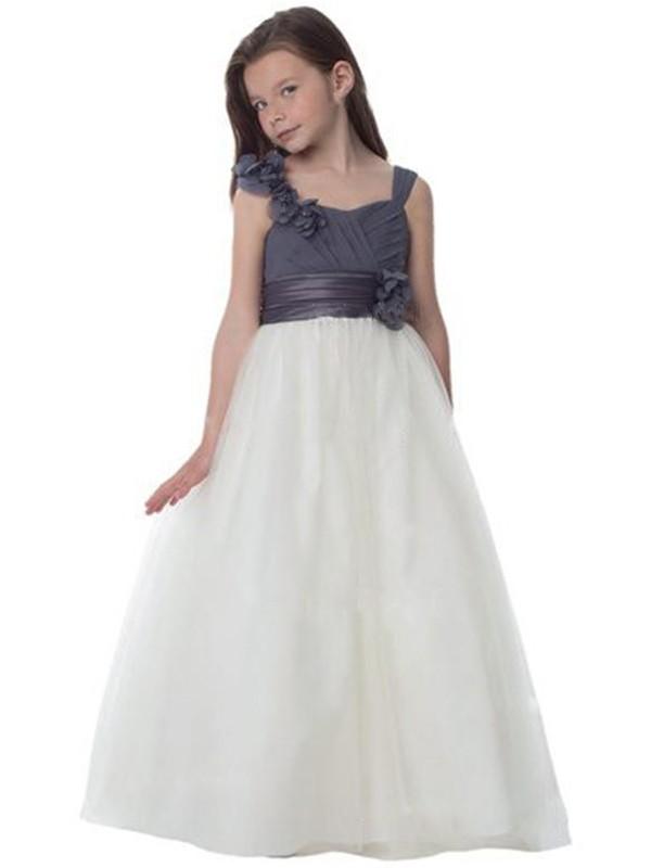 A-Line/Princess Tulle Straps Hand-Made Flower Sleeveless Floor-Length Flower Girl Dresses