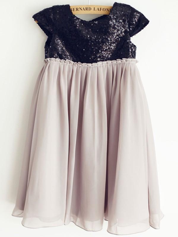 A-Line/Princess Chiffon Sequin Scoop Short Sleeves Knee-Length Flower Girl Dresses