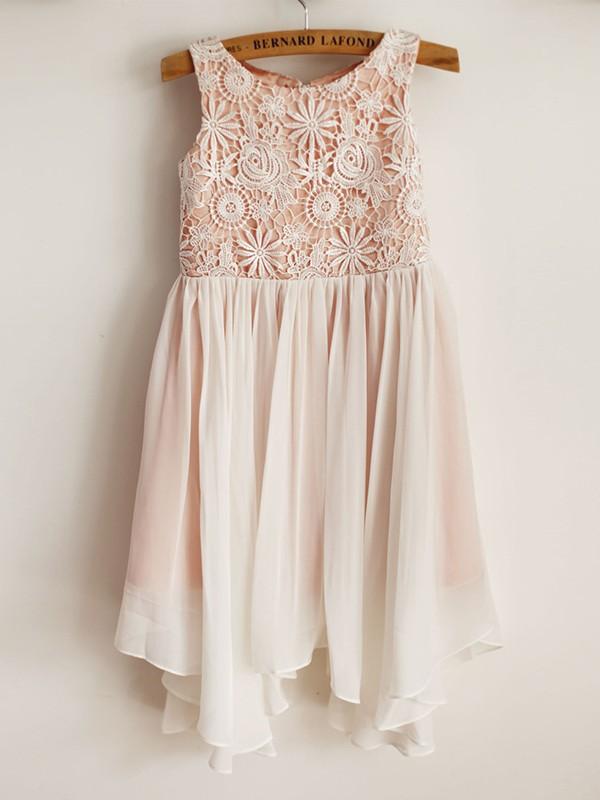A-Line/Princess Scoop Sleeveless Chiffon Lace Knee-Length Flower Girl Dresses