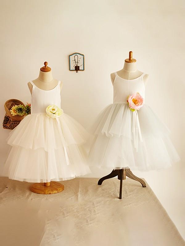 A-Line/Princess Tulle Layers Scoop Sleeveless Knee-Length Flower Girl Dresses