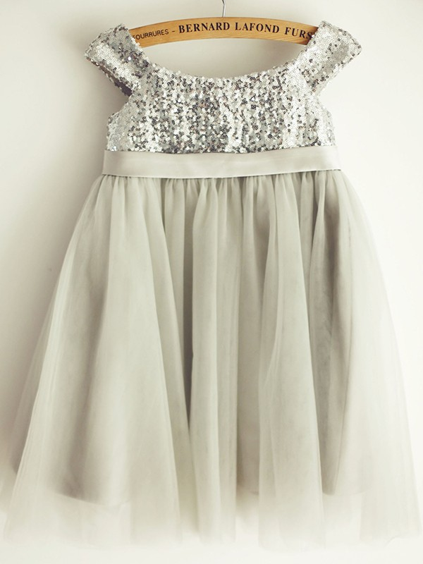 A-Line/Princess Tulle Bowknot Bateau Sleeveless Knee-Length Flower Girl Dresses
