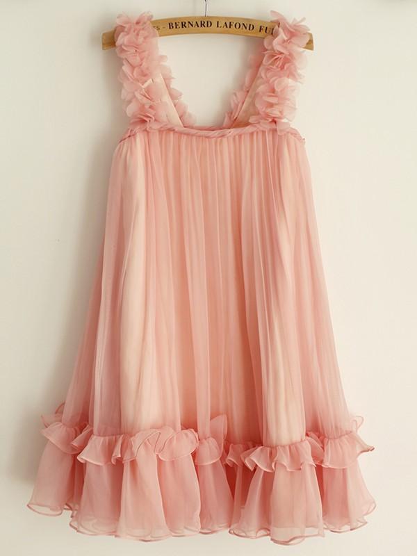 A-Line/Princess Straps Chiffon Hand-Made Flower Sleeveless Knee-Length Flower Girl Dresses
