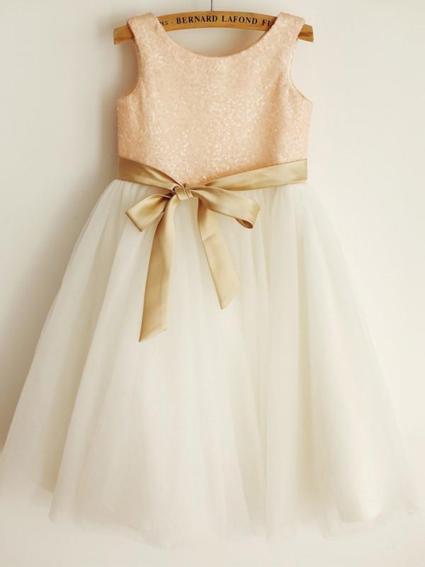 A-Line/Princess Tulle Sash/Ribbon/Belt Sleeveless Scoop Knee-Length Flower Girl Dresses
