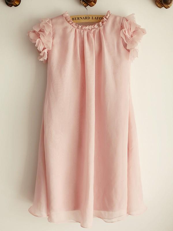 A-Line/Princess Chiffon Hand-Made Flower Scoop Short Sleeves Knee-Length Flower Girl Dresses