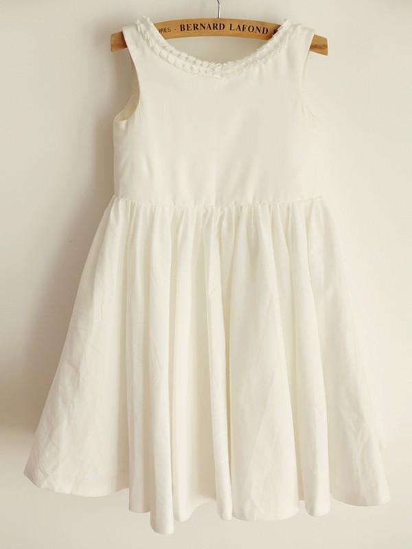 A-Line/Princess Scoop Ruffles Sleeveless Knee-Length Flower Girl Dresses