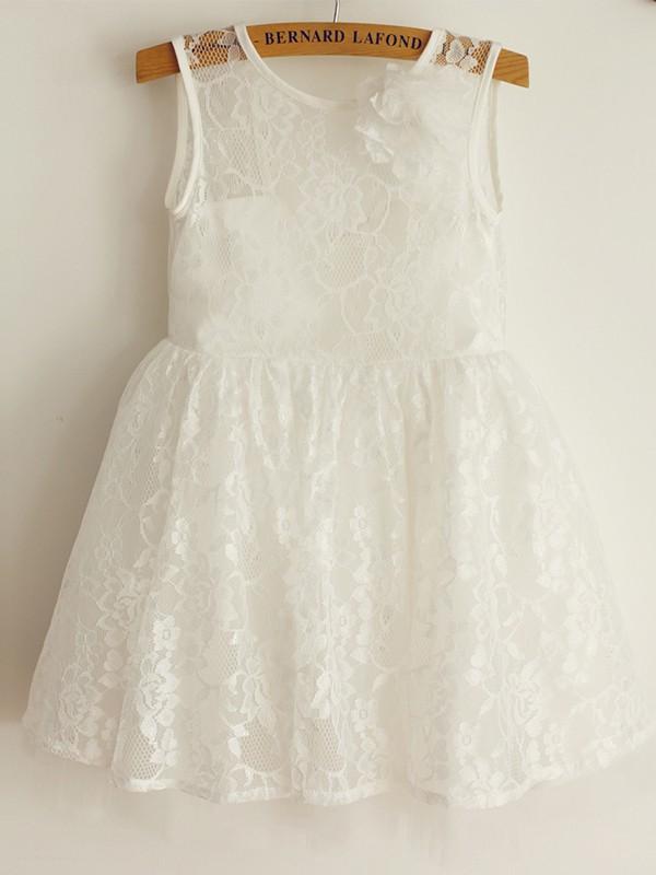 A-Line/Princess Sleeveless Straps Tulle Lace Knee-Length Flower Girl Dresses