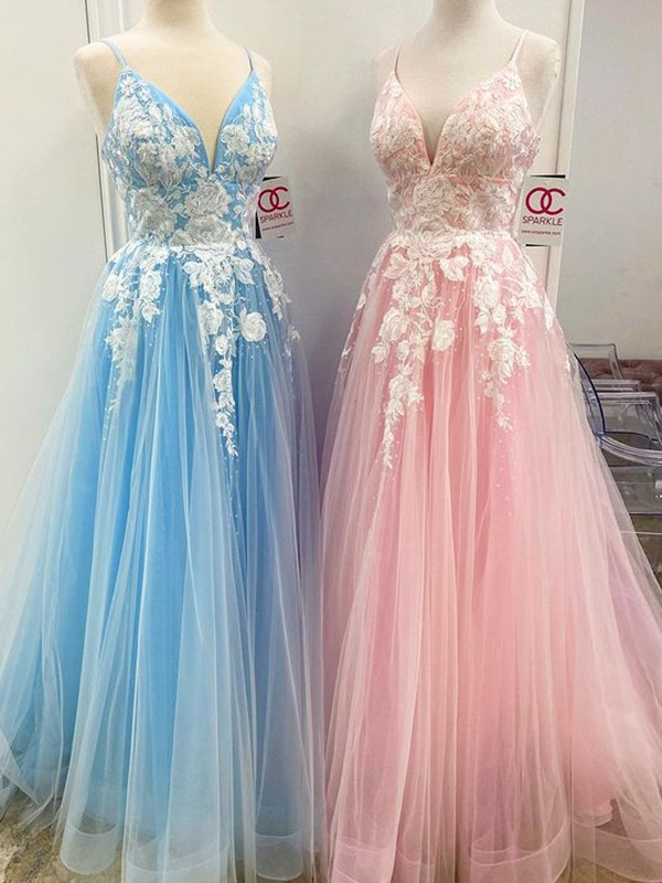 A-Line/Princess Floor-Length V-neck Applique Sleeveless Tulle Dresses