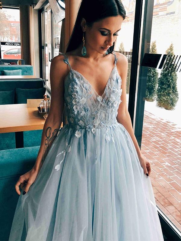 A-Line/Princess Tulle Applique V-neck Sleeveless Floor-Length Dresses
