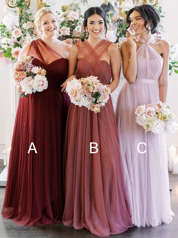 A-Line/Princess Tulle Halter Ruffles Sleeveless Floor-Length Bridesmaid Dresses
