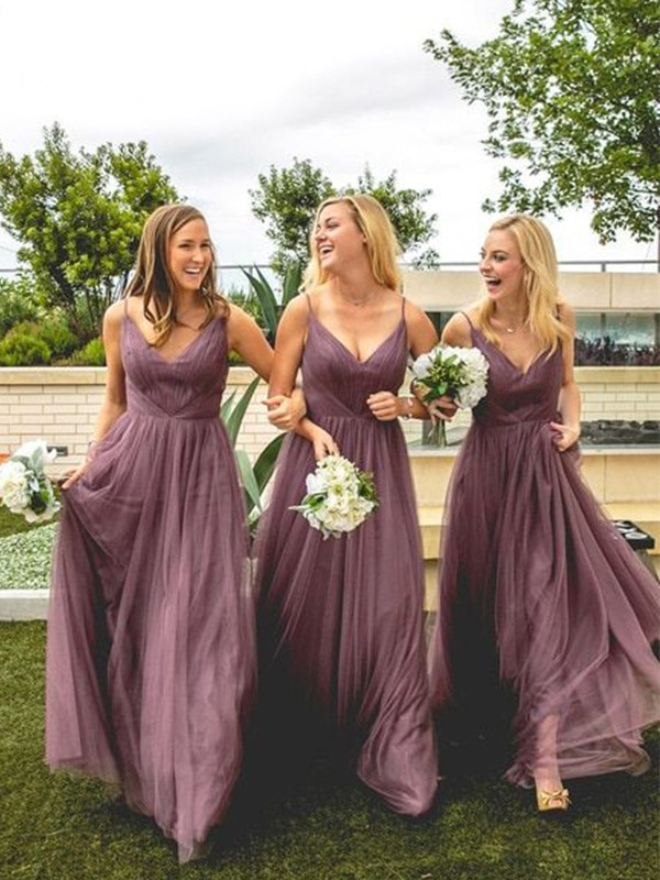 A-Line/Princess V-neck Tulle Ruffles Sleeveless Floor-Length Bridesmaid Dresses