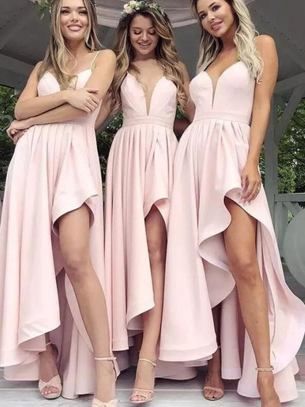 A-Line/Princess Satin V-neck Sleeveless Ruffles Asymmetrical Bridesmaid Dresses
