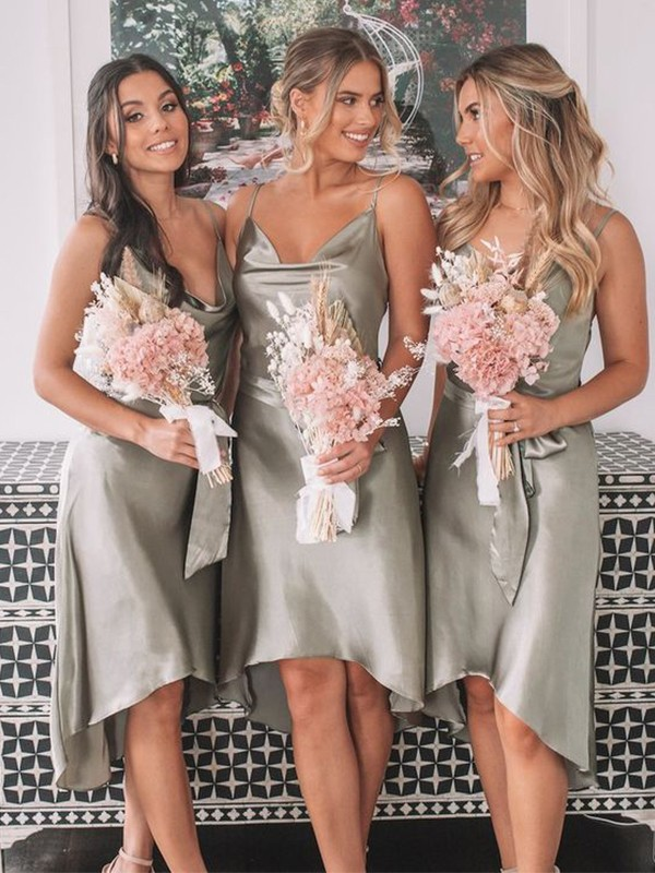Sheath/Column Spaghetti Straps Ruched Sleeveless Satin Tea-Length Bridesmaid Dresses