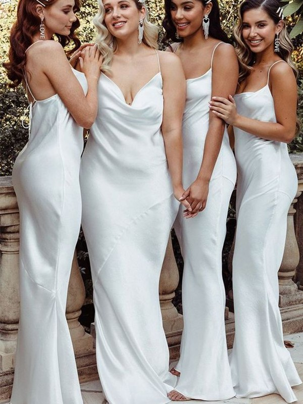 Sheath/Column Satin Ruched Sleeveless Spaghetti Straps Floor-Length Bridesmaid Dresses