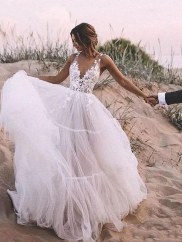 A-Line/Princess V-neck Sleeveless Tulle Applique Floor-Length Wedding Dresses